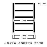 柱芯寸法とは(中量スチール棚)の商品画像
