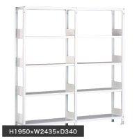 ホワイトラック 軽量書棚(本棚) KU 単式 連増(2連結棚) H1950×W2435×D340(mm)の商品画像