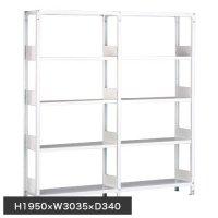 ホワイトラック 軽量書棚(本棚) KU 単式 連増(2連結棚) H1950×W3035×D340(mm)の商品画像