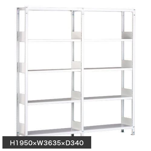 ホワイトラック 軽量書棚(本棚) KU 単式 連増(2連結棚) H1950×W3635×D340(mm)のメイン画像