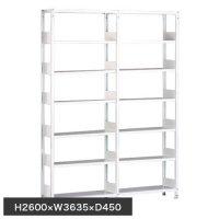 ホワイトラック 軽量書棚(本棚) KU 単式 連増(2連結棚) H2600×W3635×D450(mm)の画像
