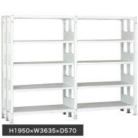 ホワイトラック 軽量書棚(本棚) KU 複式 連増(2連結棚) H1950×W3635×D570(mm)の商品画像