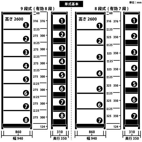 ホワイトラック スチール書架 KCJA 単式 H2600×W940×D350(mm)https://img08.shop-pro.jp/PA01034/592/product/146931214_o1.jpg?cmsp_timestamp=20191118095020のサムネイル