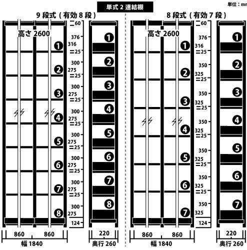 ホワイトラック スチール書架 KCJA 単式 連増(2連結棚) H2600×W1840×D260(mm)https://img08.shop-pro.jp/PA01034/592/product/147272532_o1.jpg?cmsp_timestamp=20191209105255のサムネイル