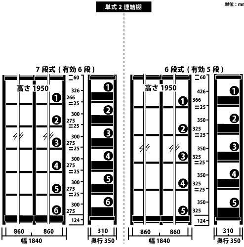 ホワイトラック スチール書架 KCJA 単式 連増(2連結棚) H1950×W1840×D350(mm)https://img08.shop-pro.jp/PA01034/592/product/147328328_o1.jpg?cmsp_timestamp=20191209105253のサムネイル