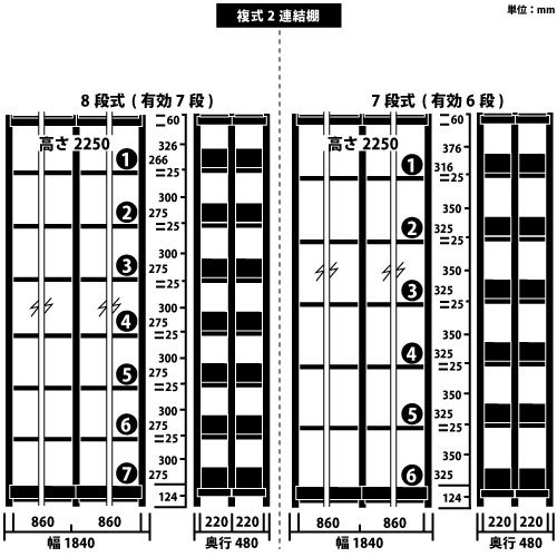 ホワイトラック スチール書架 KCJA 複式 連増(2連結棚) H2250×W1840×D480(mm)https://img08.shop-pro.jp/PA01034/592/product/147348662_o1.jpg?cmsp_timestamp=20191210101128のサムネイル