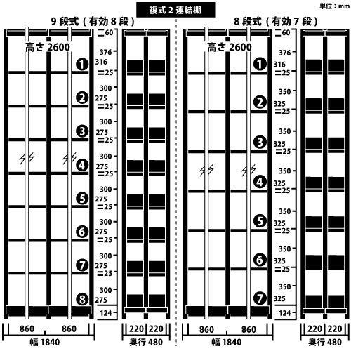 ホワイトラック スチール書架 KCJA 複式 連増(2連結棚) H2600×W1840×D480(mm)https://img08.shop-pro.jp/PA01034/592/product/147348736_o1.jpg?cmsp_timestamp=20191210102129のサムネイル