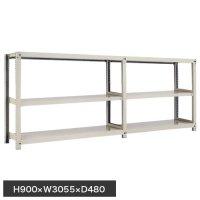 スチール棚 中量300kg連増(2連結棚) H900×W3000×D450(mm) 棚板6枚 ※柱芯寸法の商品画像