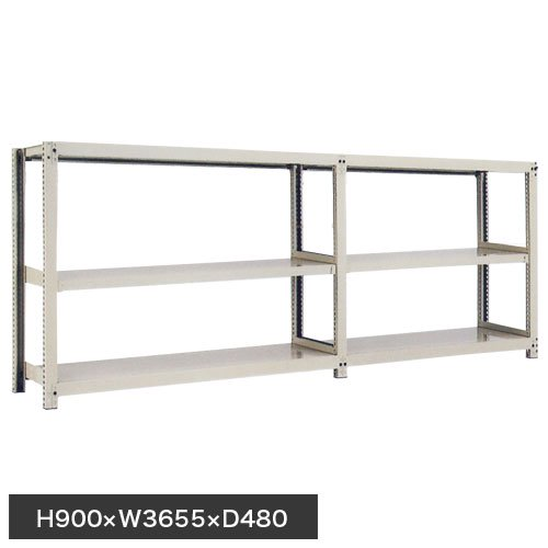 スチール棚 中量300kg連増(2連結棚) H900×W3600×D450(mm) 棚板6枚 ※柱芯寸法のメイン画像