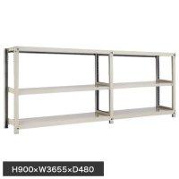 スチール棚 中量300kg連増(2連結棚) H900×W3600×D450(mm) 棚板6枚 ※柱芯寸法の商品画像