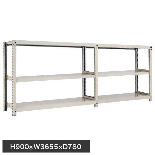 スチール棚 中量300kg連増(2連結棚) H900×W3600×D750(mm) 棚板6セット ※柱芯寸法のメイン画像