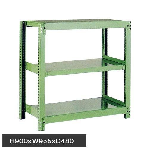 スチール棚 中量500kg基本(単体棚) H900×W900×D450(mm) 棚板3枚 ※柱芯寸法のメイン画像