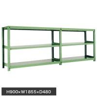 スチール棚 中量500kg連増(2連結棚) H900×W1800×D450(mm) 棚板6枚 ※柱芯寸法の商品画像