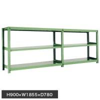 スチール棚 中量500kg連増(2連結棚) H900×W1800×D750(mm) 棚板6セット ※柱芯寸法の商品画像