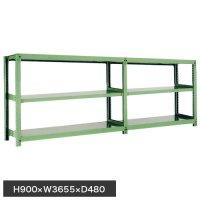 スチール棚 中量500kg連増(2連結棚) H900×W3600×D450(mm) 棚板6枚 ※柱芯寸法の商品画像