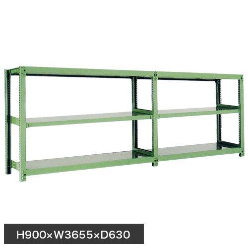 スチール棚 中量500kg連増(2連結棚) H900×W3600×D600(mm) 棚板6枚 ※柱芯寸法のメイン画像