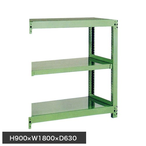 スチール棚 中量500kg追加連結棚 H900×W1800×D600(mm) 棚板3枚 ※柱芯寸法のメイン画像