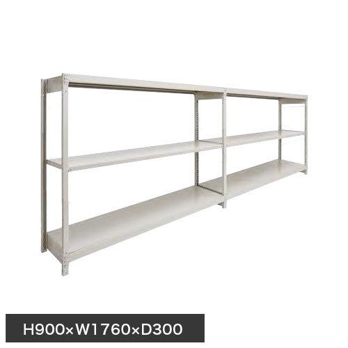 スチール棚 軽量150kg ボルトレス棚 連増(2連結棚) H900×W1760×D300(mm) 棚板6枚のメイン画像