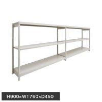 スチール棚 軽量150kg ボルトレス棚 連増(2連結棚) H900×W1760×D450(mm) 棚板6枚の画像