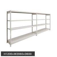 スチール棚 軽量150kg ボルトレス棚 連増(2連結棚) H1200×W2960×D600(mm) 棚板8枚の画像