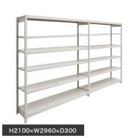 スチール棚 軽量150kg ボルトレス棚 連増(2連結棚) H2100×W2960×D300(mm) 棚板12枚の商品画像