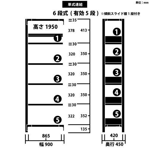 スチール書架 RKU 連結型 H1950×W900×D450(mm) 天地6段 傾斜スライド棚板1段付き チョコレートブラウンカラーhttps://img08.shop-pro.jp/PA01034/592/product/163878257_o1.jpg?cmsp_timestamp=20211008083320のサムネイル