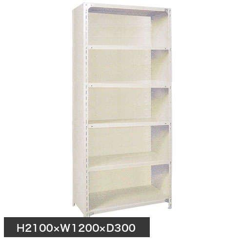 スチール棚 軽量パネル棚 H2100×W1200×D300(mm) 棚板6枚のメイン画像