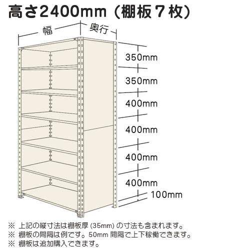 スチール棚 軽量パネル棚 H2400×W875×D300(mm) 棚板7枚https://img08.shop-pro.jp/PA01034/592/product/16423635_o1.jpg?20140425210051のサムネイル