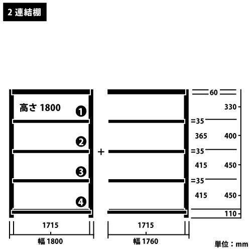 スチール棚 中軽量200kg連増(2連結棚) H1800×W3560×D450(mm) 棚板10枚https://img08.shop-pro.jp/PA01034/592/product/5113473_o1.jpg?cmsp_timestamp=20160928155331のサムネイル