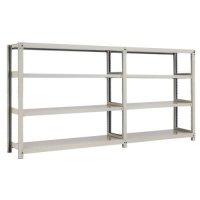 スチール棚 中量300kg連増(2連結棚) H1200×W3600×D600(mm) 棚板8枚 ※柱芯寸法の商品画像