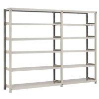 スチール棚 中量300kg連増(2連結棚) H2100×W2400×D450(mm) 棚板12枚 ※柱芯寸法の商品画像