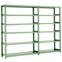 スチール棚 中量500kg連増(2連結棚) H2100×W2400×D600(mm) 棚板12枚 ※柱芯寸法の商品画像