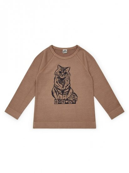 <img class='new_mark_img1' src='https://img.shop-pro.jp/img/new/icons6.gif' style='border:none;display:inline;margin:0px;padding:0px;width:auto;' />BONTON 猫プリントカットソー ライトブラウン