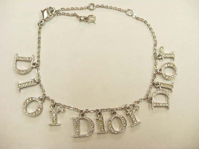 クリスチャン・ディオール ブレスレット Diorロゴ ラインストーン LGO01021B 美品!