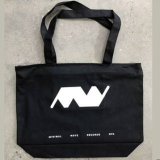 Minimal Wave Black Canvas Zippered Tote