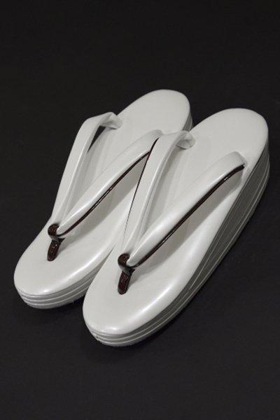 銀座【G-724-3】ウェーブ草履 白色×臙脂色 Mサイズ(新品・未使用)