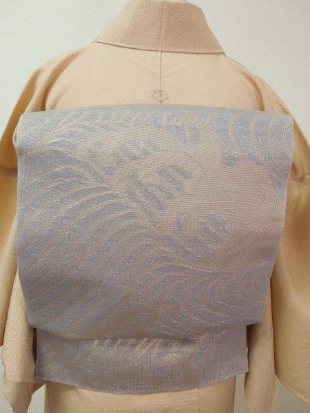 あおき【L-1460】紗袋帯 灰みがかった浅縹 金糸 波浪文