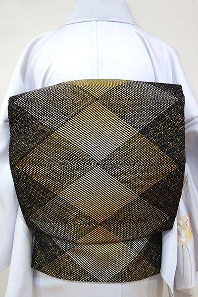 あおき【K-2739】八寸名古屋帯 組織 黒色×金銀糸 幾何文