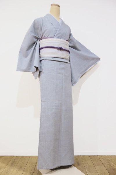 銀座【A-1478】(広め) 繍一ッ紋 単衣 紬  灰青色 無地