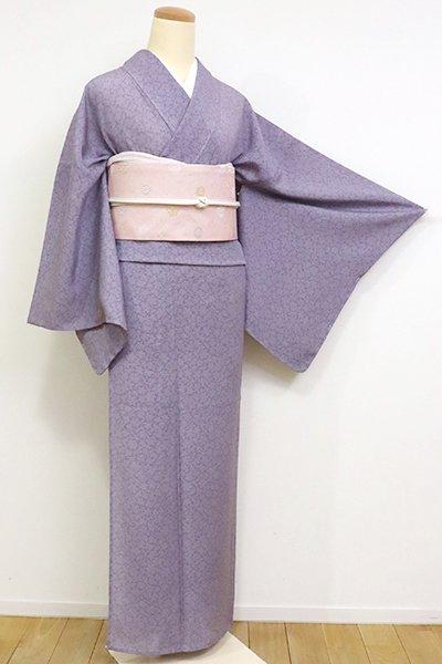 あおき【C-719】絽 江戸小紋 紫苑色 鮫に雪輪文 (しつけ付)(N)