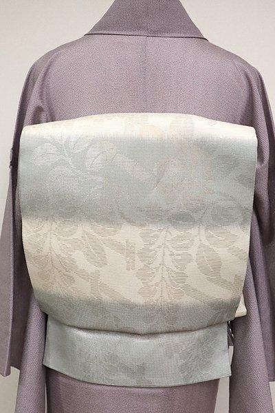 あおき【L-1999】夏袋帯 薄卵×深川鼠 横段 藤の図