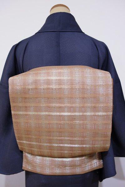 あおき【L-2010】夏袋帯 赤白橡色系×金 格子