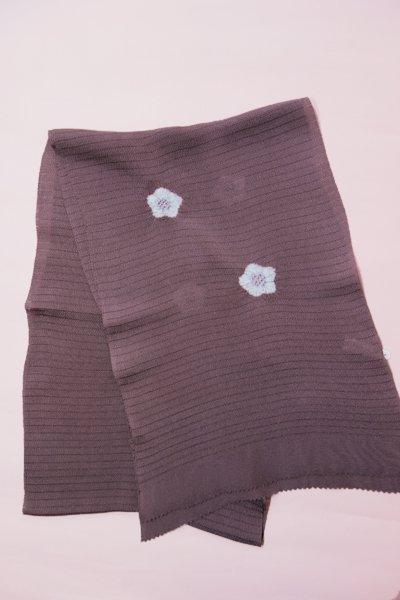 あおき【G-472】絽縮緬帯揚げ 葡萄鼠色 桔梗絞り(新品・未使用)