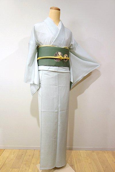 銀座【C-741】絽 江戸小紋 白緑色 波文(しつけ付)(N)