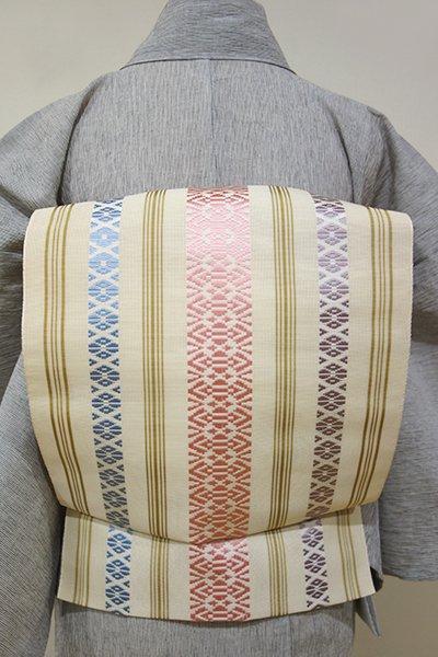 あおき【K-2911】紗献上 博多織 八寸名古屋帯 鳥の子色×桃花色×空色