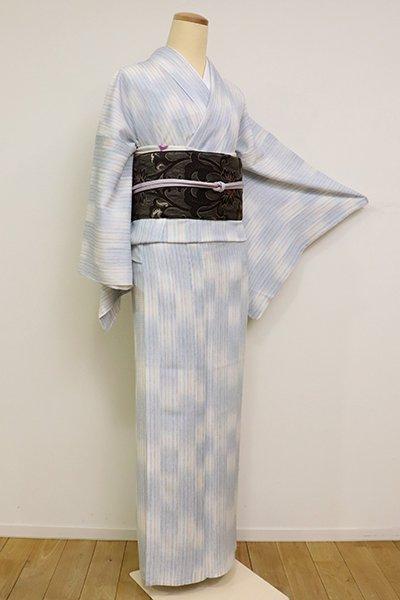 あおき【D-1180】(L) 絽 小紋 秘色色 市松絣と多彩な竪縞(しつけ付)(N)