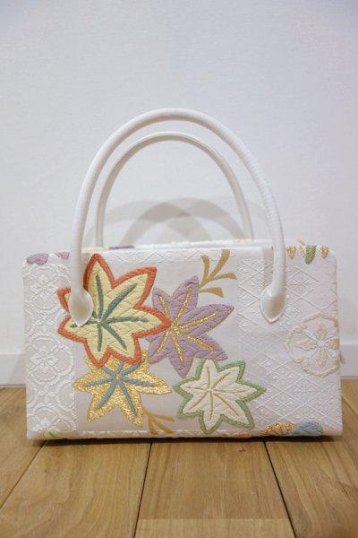 銀座【G-531】利休バッグ 唐織 白色 松や楓 (小サイズ・新品)