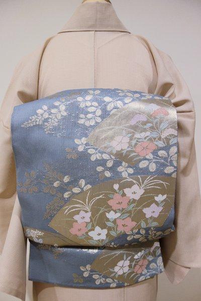 あおき【L-2052】絽 袋帯 薄花色 扇面に秋草文
