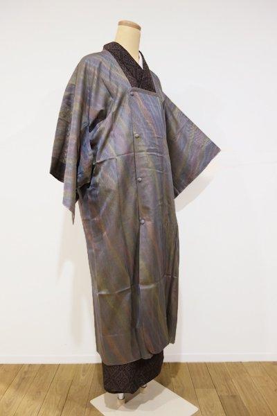WEB限定【E-450】紋紗 道行コート 鈍色 多彩な斜め暈かし