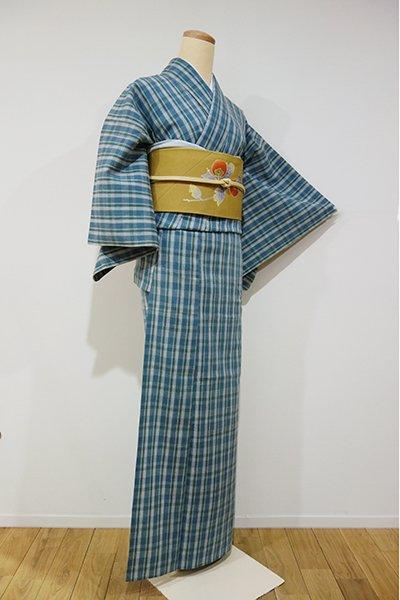 WEB限定【A-1616】単衣 紬 藍鼠色×松葉色 格子